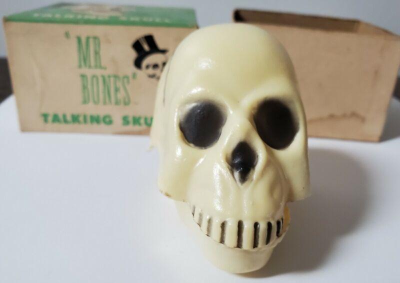Mr. Bones Talking Skull w/Box. Works. 1954