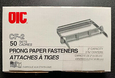 Prong Paper Fasteners 2 Inch Capacity 2.75 Inch Base Box Of 50 New Sealed