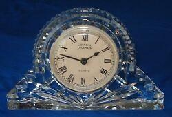Antique Collectible Godinger Glass Crystal Legends Quartz Mantel Desk Clock