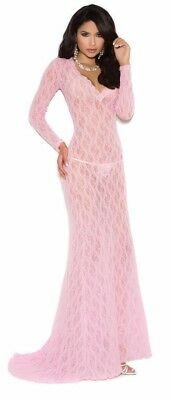 Long Sleeve Lace Night Gown with Deep V Front Train Lingerie Baby Pink 1949 (Baby Lingerie)