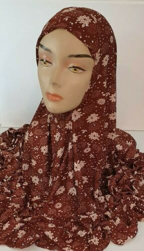 Brown Tan Pattern X-Large One Piece Prayer Muslim Hijab Head Cover Scarf