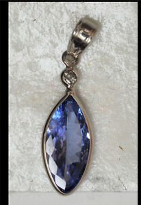 14K Gold Tanzanite and Diamond Pendant