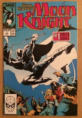 Marc Spector Moon Knight Comic Book #1 Direct Edition Spider-Man Logo High Grade Moon Knight Comic Book