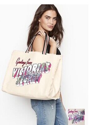 Victoria's Secret Postcard Greetings Getaway Beach Tote Bag NWT inside - Getaway Postcard