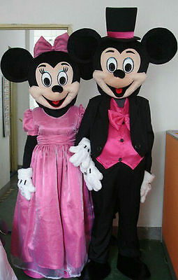 Mickey And Minnie Mouse Mascot Costumes Suits Party Halloween Fancy Dress Adults](Mickey And Minnie Halloween Costumes)