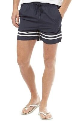 "FRENCH CONNECTION MENS BEACH RUNNING SHORTS NAVY/WHITE SIZE XL 36"" (MC29)"