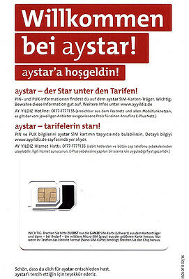 100 Aystar E-Plus o2 3in1 Prepaid Sim Karte Ohne Guthaben Anonym Frei Aktiviert