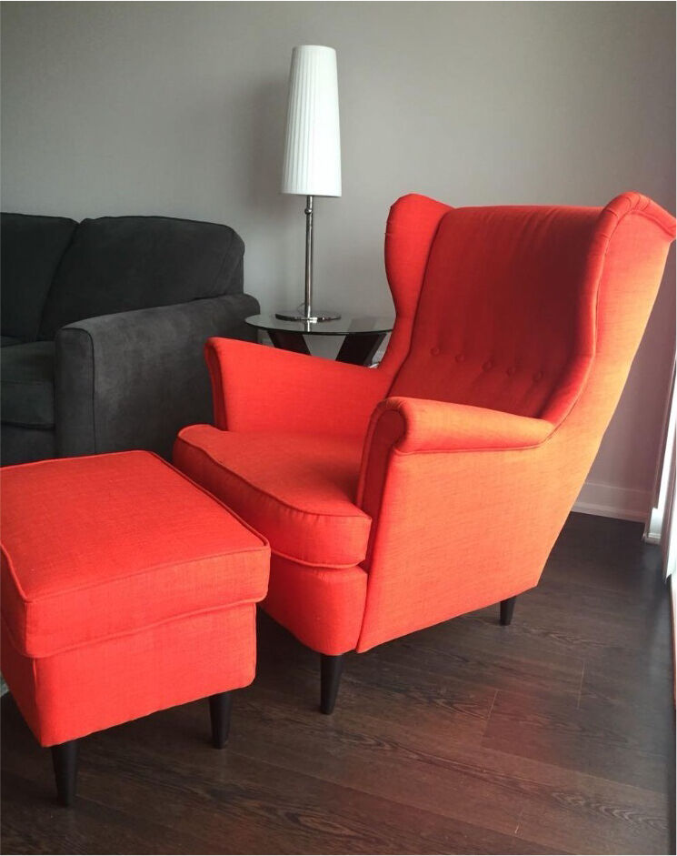Ikea Strandmon Armchair Orange Red And Stool In
