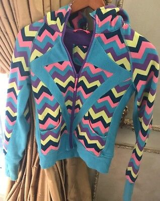 IVIVVA Girls Chevron Remix Hoodie Jacket Turquoise w Multi Color Size 12 EUC!