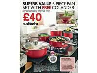 5 piece pan set free colander