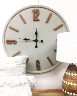 81cm Concrete Clock with Wooden Numbers