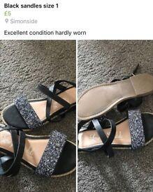 Black glitter sandles