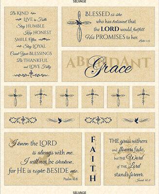Religious Bible Verses (Religious Thankful Faith Bible Verses Fabric Timeless Treasures C6060 35
