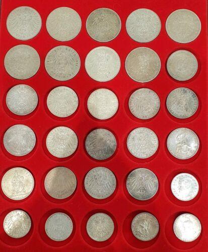 Kaiserreich Silbermünzen 28 Stück und 2x Thaler in 900er Silber