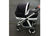 Black and White pushchair Bebecar Ip-op black magic pram, carry and car seat. Excellent condition