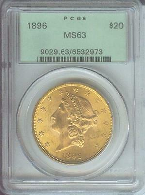 1896  1896 P  $20 GOLD LIBERTY DOUBLE EAGLE PCGS MS63 OLD GREEN HOLDER OGH
