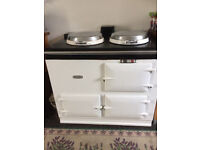 A white, oil-fired Aga in excellent condition