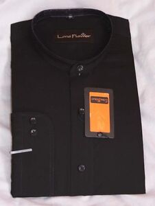 MENS SHIRT GRANDAD COLLAR IN BLACK & WHITE  (free P&P)