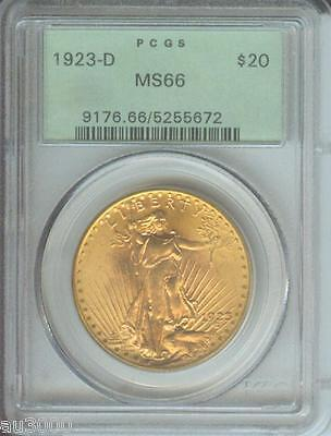 1923 D $20 ST. GAUDENS DOUBLE EAGLE PCGS MS66 SAINT MS 66 OLD GREEN HOLDER OGH