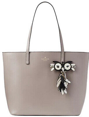 Kate Spade Large Tote-Owl Little Len Grey Smooth Leather Handbag Star Bright NWT