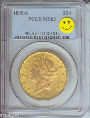 1895 S $20 LIBERTY DOUBLE EAGLE PCGS GRADED MS63 BETTER DATE PREMIUM QUALITY PQ