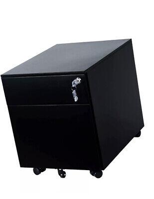 2-drawer Mobile File Cabinet Under Desk Storage For Home Standard Black