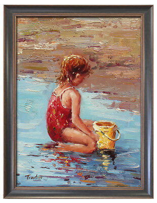 Fine Oil Painting in a Frame Little Girl Playing Sand by Beach Portrait 21x17""