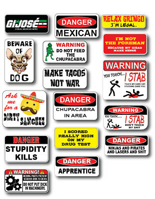 16pk Mexican Hard Hat Funny Joke Decal Sticker 3m Toolbox Welder Helmet Toolbox