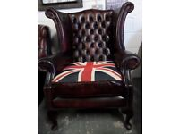 Stunning Chesterfield WIDE Queen Anne Wing Back Chair Union Jack Oxblood Leather - UK Delivery