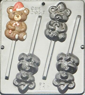 Teddy Bear Lollipop w Hat and Candy Cane Chocolate Candy Mold Christmas 2051 NEW
