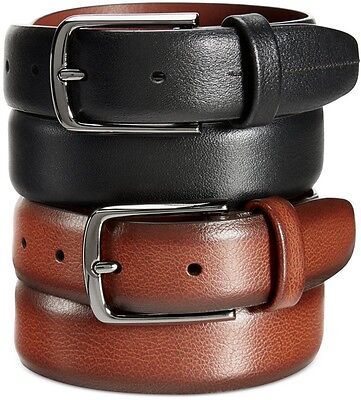 $99 PERRY ELLIS Mens BLACK LEATHER CASUAL SILVER BUCKLE DRESS STRAP BELT SIZE 34
