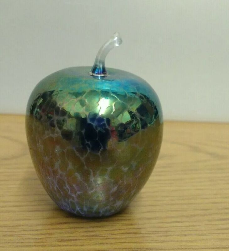 Lustreware finish glass apple in the style of Ditchfield.