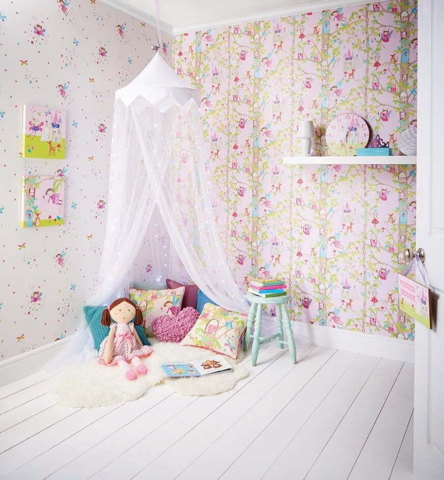 Product Name:Woodland Fairies Fairy Room Concept   Girls Bedroom Wallpaper  Clock Cushion Art