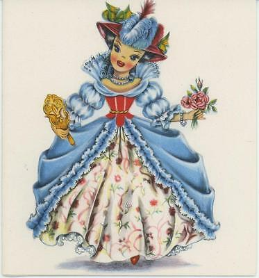 VINTAGE FRENCH FRANCE GIRL DOLL MIRROR ROSES PRINT 1 FLORIST GARDEN SHOP CARD ()
