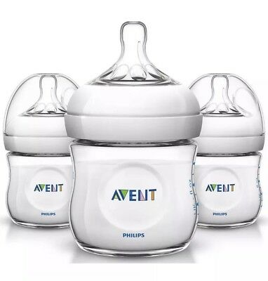 Philips Avent Natural Baby Bottle Clear 4oz 3-pack Anti-colic Feeding Bottles