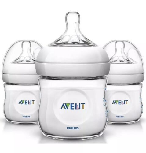 Philips Avent Natural Baby Bottle Clear 4oz 3-pack Anti-coli