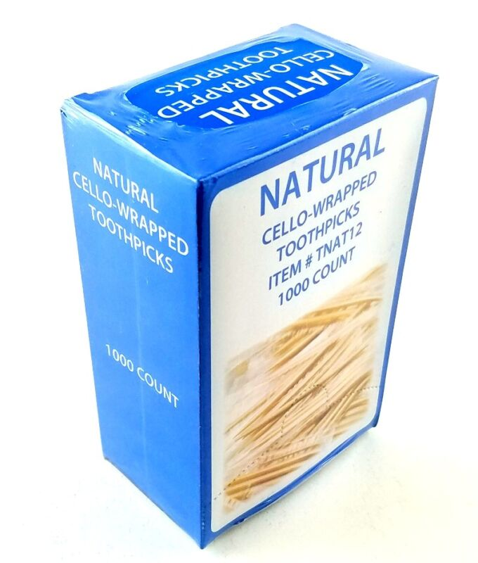 Natural Cello-Wrapped Toothpicks 1000 Pack