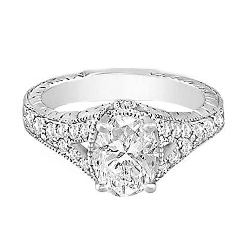 2 carat Oval Shape GIA Certified Diamond Vintage Style Engagement Ring 18k Wh...