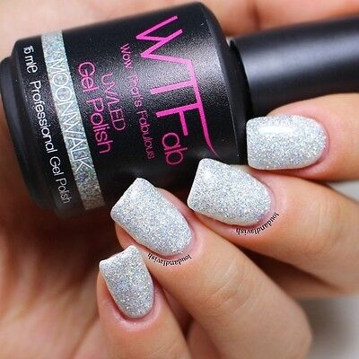 SOAK OFF Gel Polish Manicure Color HOT - 15ml Silver Holographic Glitter LED UV