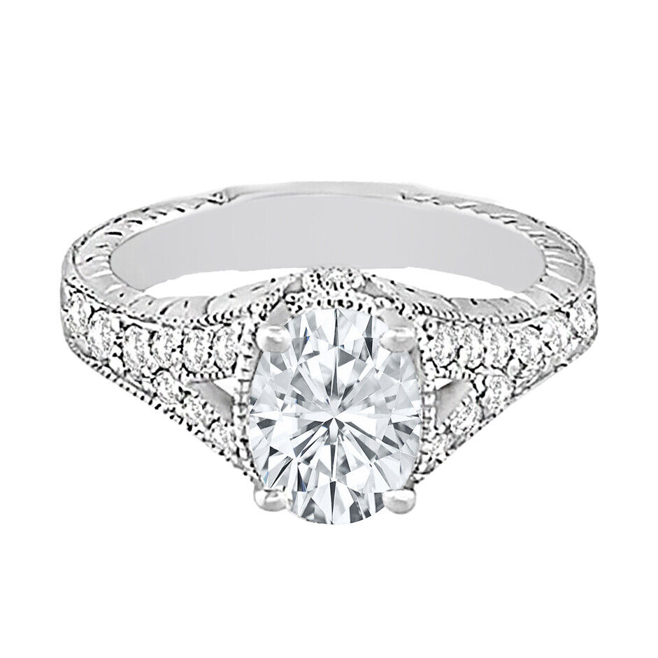 GIA Certified Diamond Engagement Ring 1.70 CT Oval Shape & Round Shape 18k Gold