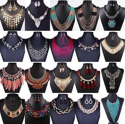 Jewelry - Charm Fashion Rhinestone Statement Bib Chain Choker Pendant Necklace Jewelry