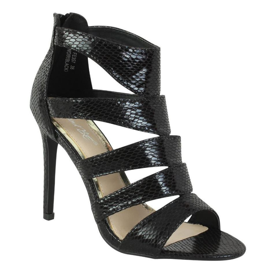 New Ladies Women/'s High Heels Stiletto  Zip Up Gladiator Peep Toe Ankle Sandals