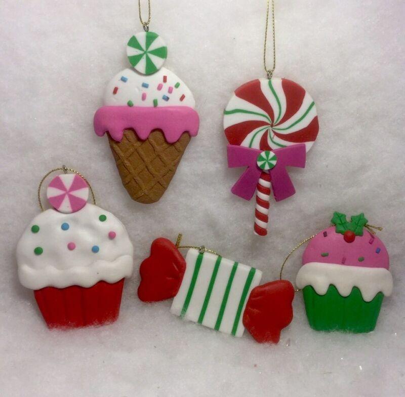 Cupcake, Ice Cream, Peppermint, Lollipop Christmas Tree Ornaments Sweet Treats