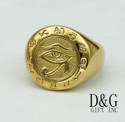 DG Men's Gold Stainless Steel Egyptian Eye Ring 7 8 9 10,11,12 13 Box - Eye Rings