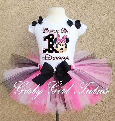 Baby Girl Minnie Mouse 1st 2nd Black Pink Polkadot Birthday Tutu Outfit - Baby Minnie First Birthday