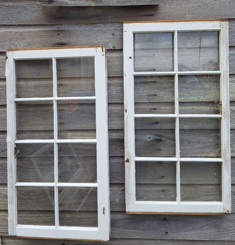 Architectural Salvage - Distressed ANTIQUE WINDOW SASH - C. 1950 38X19 SET OF 2