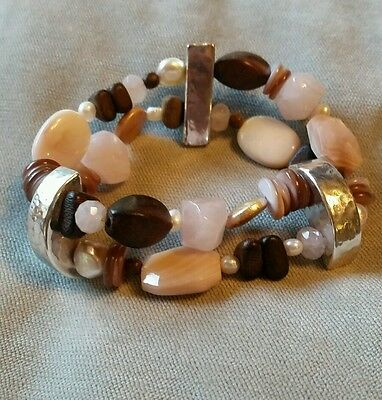 (SILPADA Rose Quartz, Coconut Shell, Sterling Silver Stretch Bracelet #B1418)