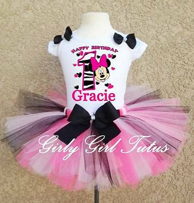 Pink And Black Minnie Mouse Tutu (Baby Girl Black/Pink Minnie Mouse 1st Birthday Tutu Outfit Dress)