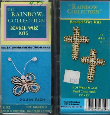 2 Beaded & Wire Pearl Cross & Butterfly Pin Ornament KITS Gold & Crystal Bug