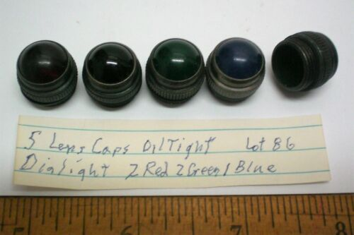 5 Lens Caps Oil Tight, 2R, 2G, 1Blue,  DIALIGHT, Lot 86, Made in USA
